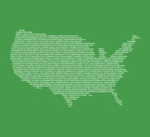America Constitution Shape Map One Piece - Short Sleeve