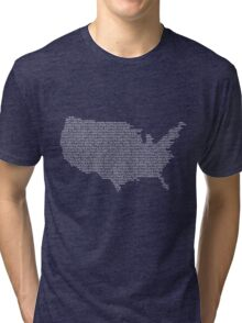 America Constitution Shape Map Tri-blend T-Shirt