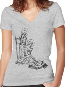 Birth of Jesus Women's Fitted V-Neck T-Shirt