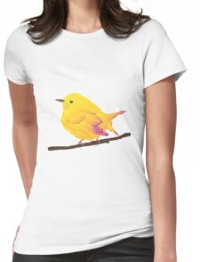 Yellow Cartoon Bird in Peach Background Womens Fitted T-Shirt