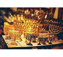 Menorah at the Jerusalem Old City Marketplace Photographic Print