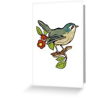 Bird On A Branch With Beige Background Greeting Card