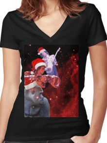 Goodnight (And Merry Christmas) Women's Fitted V-Neck T-Shirt