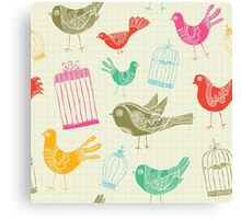 Vintage Retro Birds And Cage Canvas Print