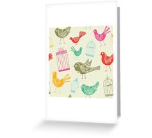 Vintage Retro Birds And Cage Greeting Card