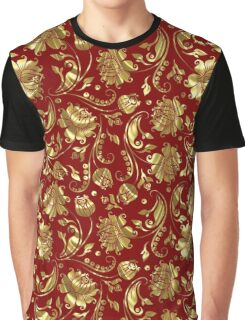 Gold & Dark Red Floral Damask Pattern Graphic T-Shirt