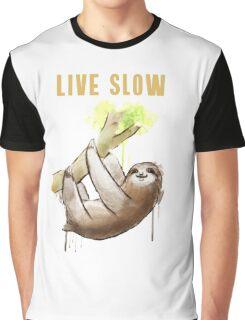 faultier live slow chill out faulenzen abhängen nerd geek grinsen Graphic T-Shirt