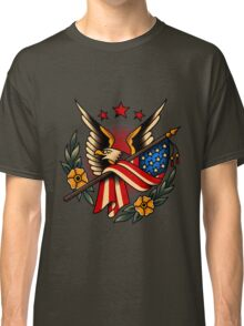 American Traditional Eagle and Flag Classic T-Shirt