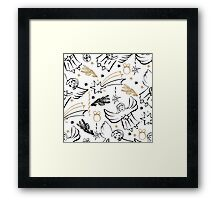 Christmas hand drawn seamless pattern with cute angels. Framed Print