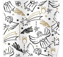 Christmas hand drawn seamless pattern with cute angels. Poster