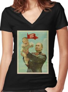 TRUMP Painting Women's Fitted V-Neck T-Shirt