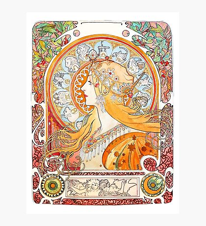 Art Nouveau - Mucha (watercolours hand reproduction) Photographic Print