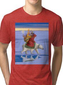 Santa on polar bear Tri-blend T-Shirt
