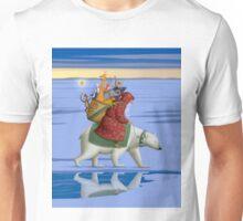 Santa on polar bear Unisex T-Shirt