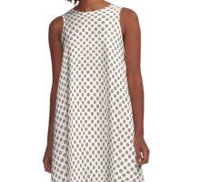 Warm Taupe Polka Dots A-Line Dress