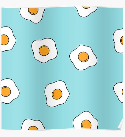 fried egg. seamless doodle pattern Poster