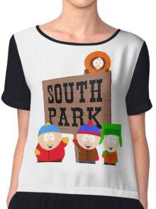south park south park cartman stan kenny kyle t shirts Chiffon Top