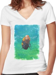 Bumble beard Distressed Women's Fitted V-Neck T-Shirt