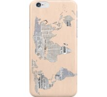 Newspaper World Map iPhone Case/Skin