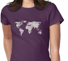 Newspaper World Map Womens Fitted T-Shirt