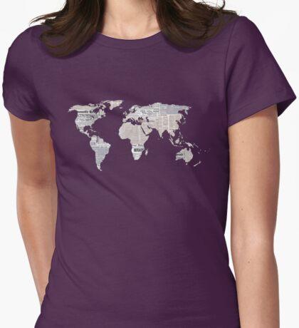 Newspaper World Map Womens Fitted T-Shirt