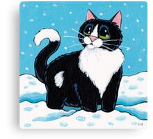 Knee Deep in the White Stuff (Tuxedo Cat in Snow) Canvas Print