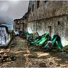 Repairing the Nets at Cape Coast Castle by Wayne King