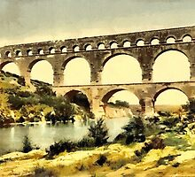 The Roman Bridge over the Gard, constructed by Agrippa, Nîmes, France by Dennis Melling