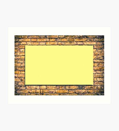 Brick wall with a billboard Art Print