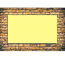 Brick wall with a billboard Photographic Print