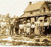 A Group of Berry Pickers on Newton's Farm, Cannon, Delaware, USA in the 19th century by Dennis Melling