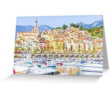 Port in Menton, France Greeting Card