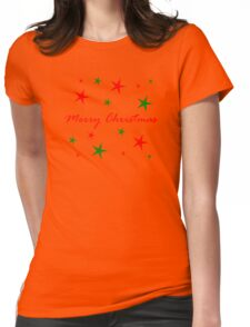 Merry Christmas Red And Green Star Blizzard Womens Fitted T-Shirt
