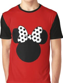 Mouse Ears with Black & White Spotty Bow Graphic T-Shirt