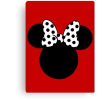 Mouse Ears with Black & White Spotty Bow Canvas Print