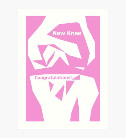 Knee Replacement Operation Congratulations Card  in Pink by Jenny Meehan Art Print