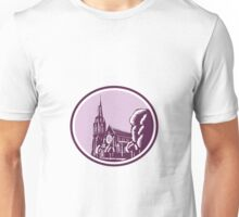 Christchurch Cathedral Woodcut Retro Unisex T-Shirt