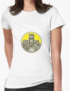 Larnach Castle Dunedin Woodcut Retro Womens Fitted T-Shirt