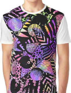 Geometric Retro Neon Watercolor Black Drawn Shapes Graphic T-Shirt