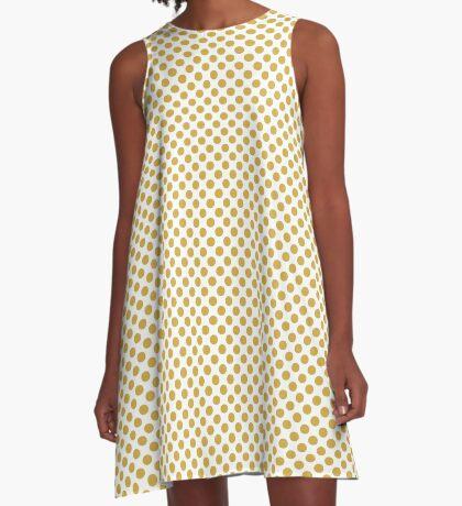 Spicy Mustard Polka Dots A-Line Dress