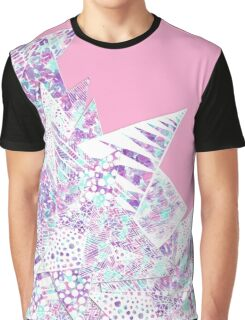 Girly Watercolor Paint and White Geometric Drawing Graphic T-Shirt