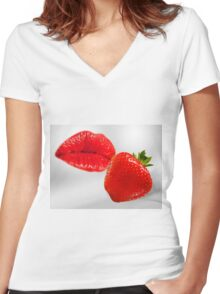 Strawberry kiss Women's Fitted V-Neck T-Shirt