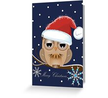 Owl with Santa hat and Merry Christmas text  Greeting Card