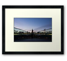 Even the Clouds Aligned with St Paul's Cathedral and the Millennium Bridge in London, UK Framed Print