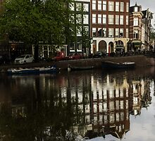 Amsterdam Canal Houses in the Rain by Georgia Mizuleva