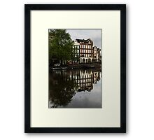 Amsterdam Canal Houses in the Rain Framed Print