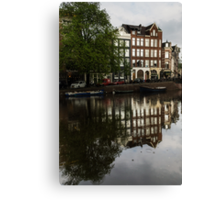 Amsterdam Canal Houses in the Rain Canvas Print