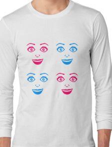 muster frau weiblich girl sexy gesicht grinsen comic cartoon text schrift logo design cool crazy verrückt verwirrt blöd dumm komisch gestört  Long Sleeve T-Shirt