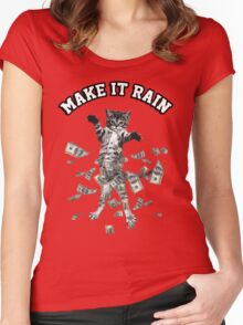 Dollar bills kitten - make it rain money cat Women's Fitted Scoop T-Shirt