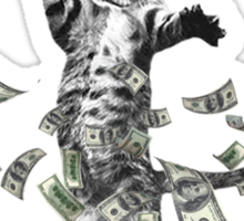 Dollar bills kitten - make it rain money cat Sticker